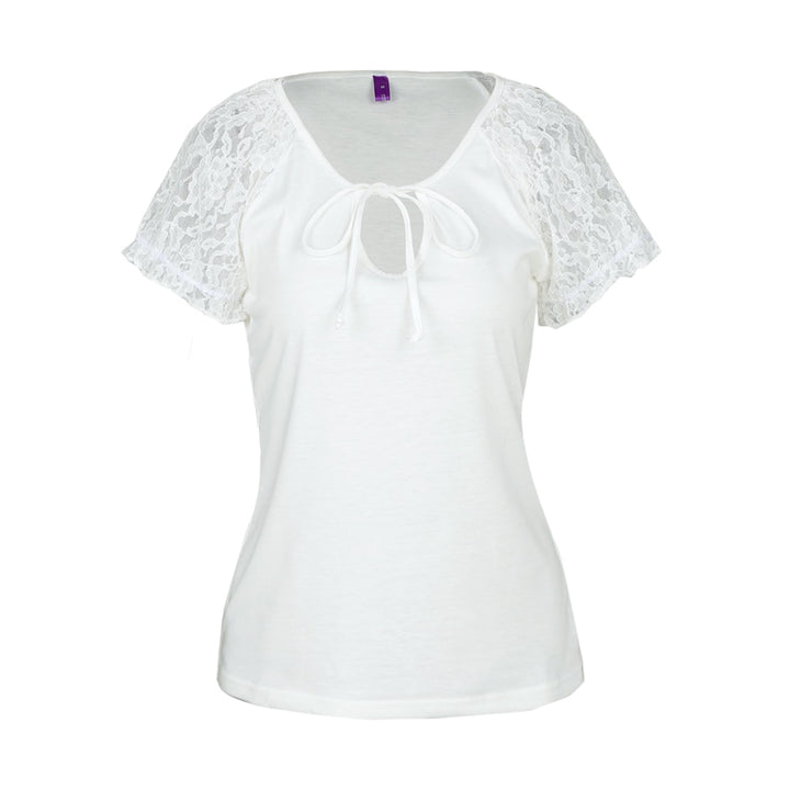 Women's Summer Lace-Sleeved Floral T-Shirt