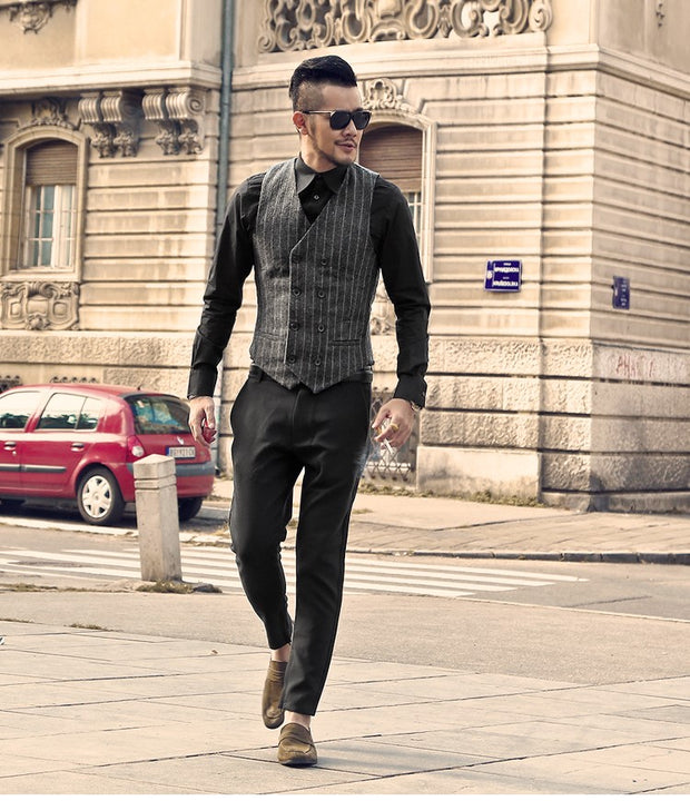 Men's Spring/Autumn Double-Breasted Striped Suit Vest