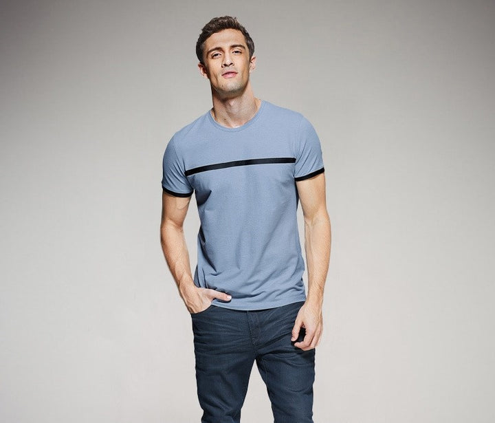 Men's Summer Casual Slim T-Shirt With Stripe