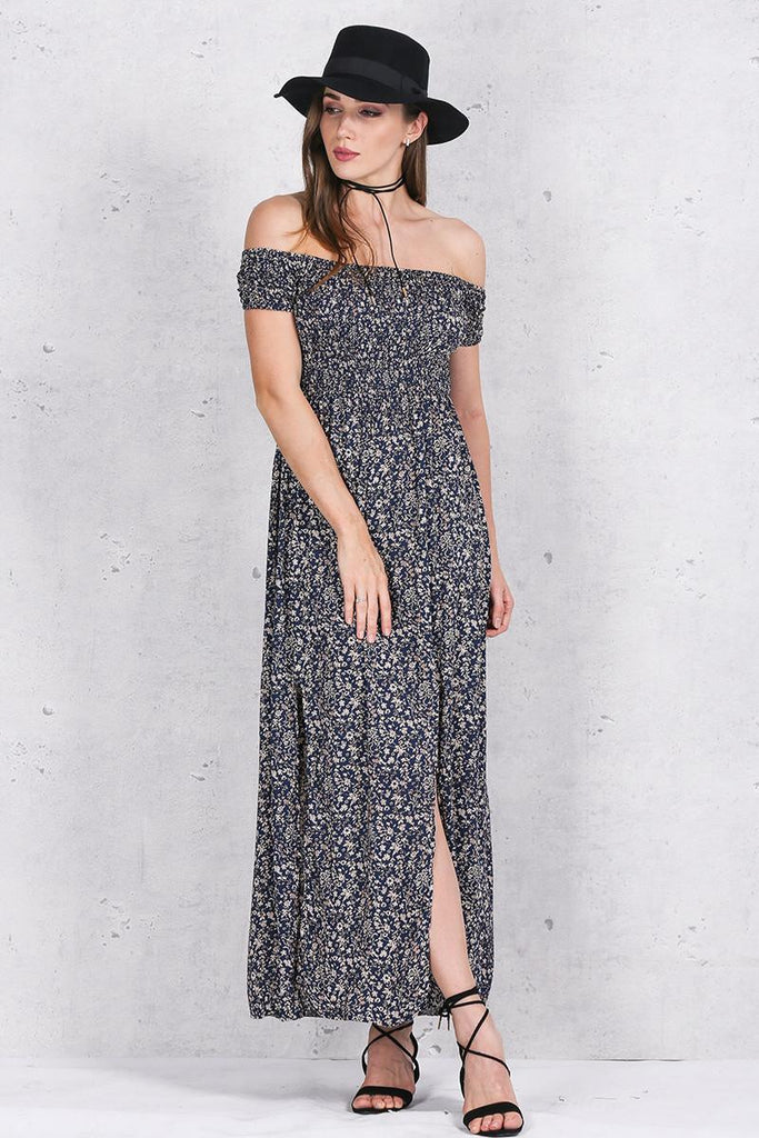 Women's Side Split Off Shoulder Print Summer Dress - Zorket