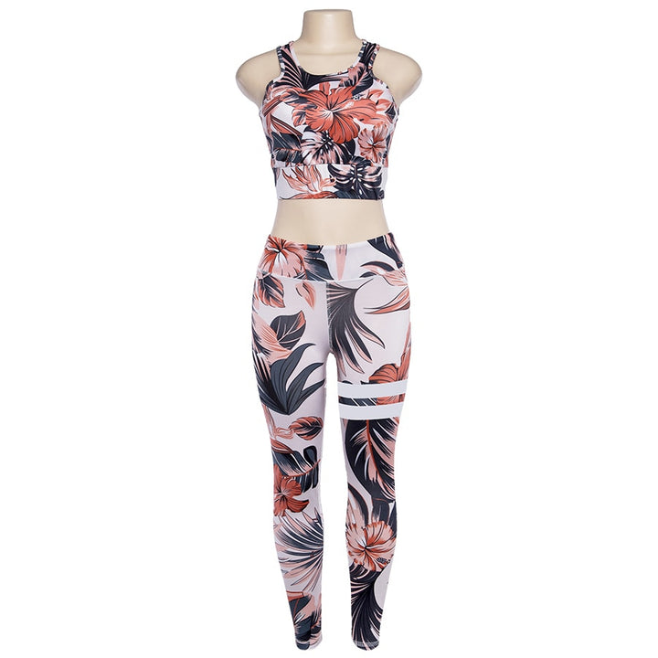 Women's Summer Flare Fitness Set With Floral Pattern | Top & Leggings