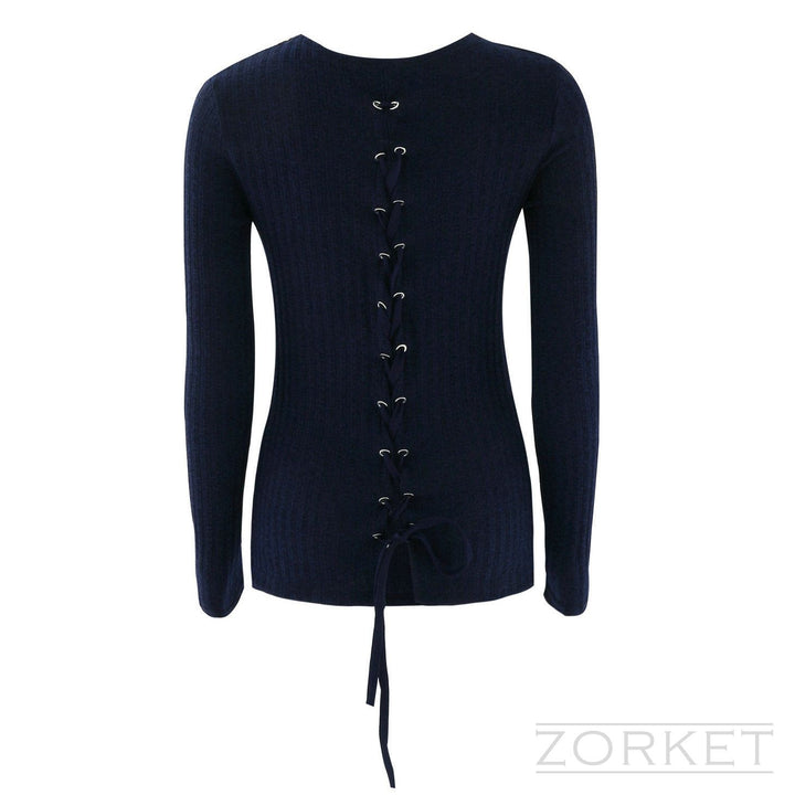 Sweater – Knitted Sweater With Back Lace Up | Zorket