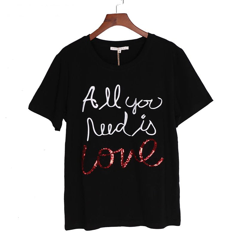 Women's Summer Sequined Cotton T-Shirt With Letter Embroidery