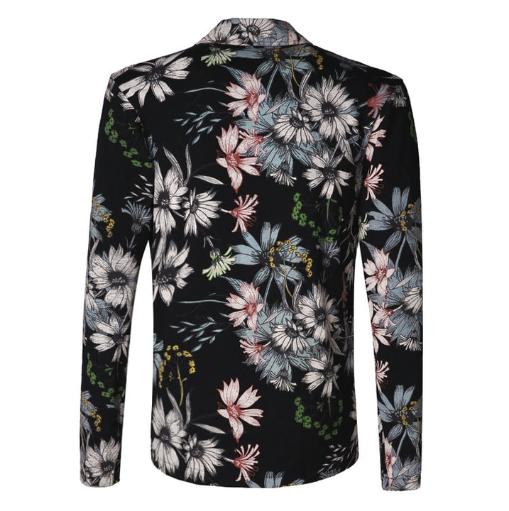 Men's Spring/Summer Stretch Slim Blazer With Floral Pattern