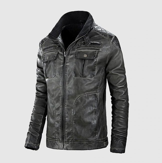 Men's Winter PU Leather Jacket With Stand Collar