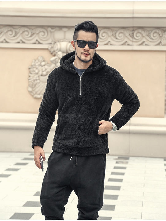 Men's Winter Fleece Thermal Plush Hooded Sweatshirt