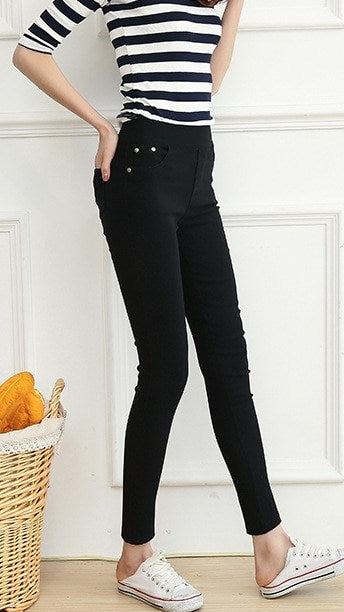 Women's Autumn/Winter Casual Skinny High-Waist Elastic Leggings