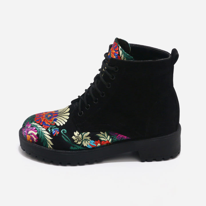 Women's Spring Suede Casual Ankle Boots With Flower Embroidery