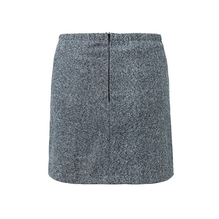 Women's Autumn/Winter Tweed Asymmetric Mini Skirt With Decorative Buttons