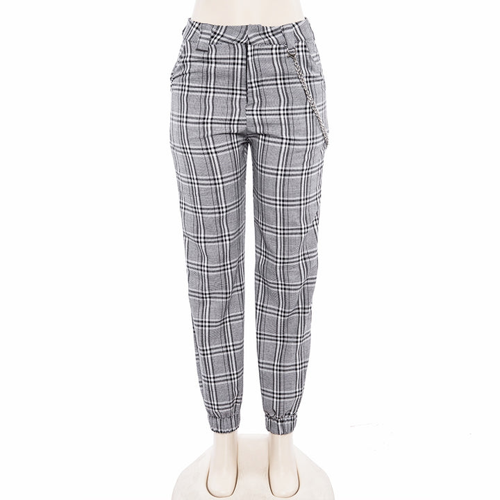 Women's Spring/Autumn Plaid Ankle-Length Loose Pants With Pocket Chain