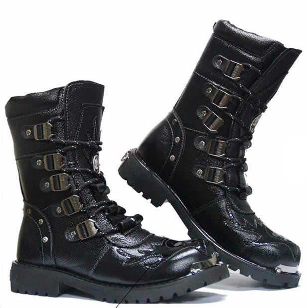 Men's Genuine Leather Military Boots With Fur - Zorket
