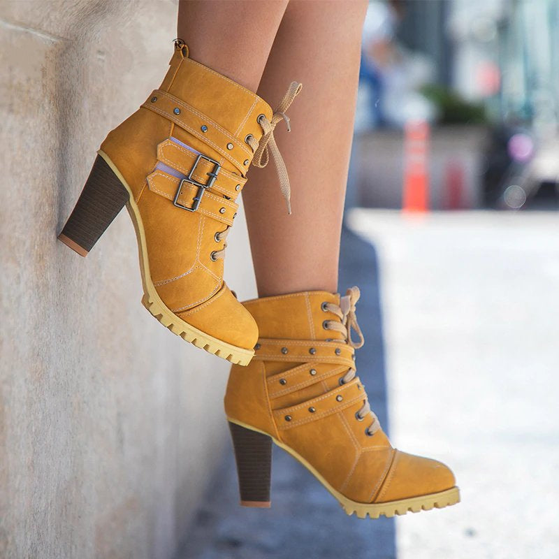 Women's Winter Nubuck High-Heeled Lace-Up Boots With Buckles & Rivets