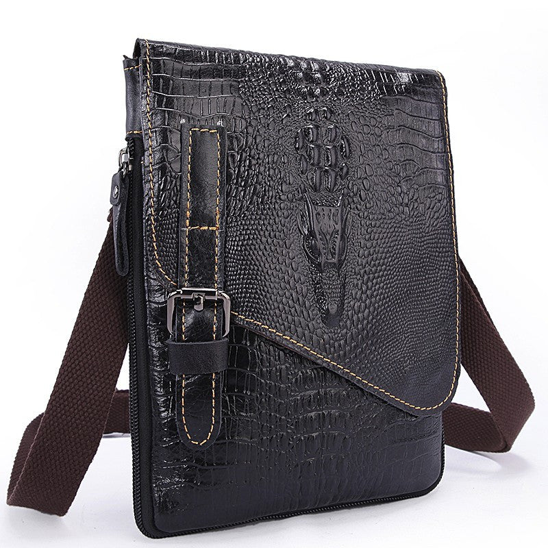 Crossbody Bag – 100% Genuine Leather Men's Shoulder Bag With Alligator Pattern | Zorket