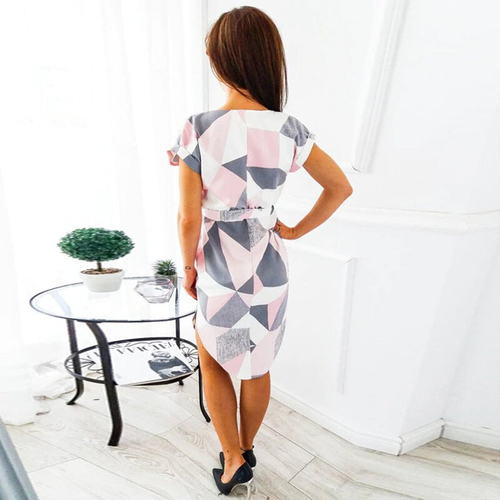 Women's Summer Loose Sleeve Geometric Printed Dress