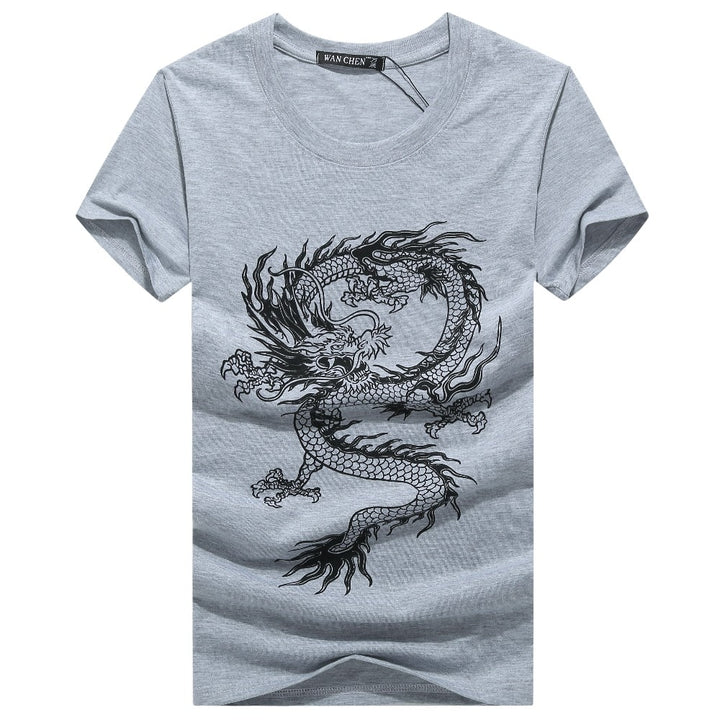 Men's Summer O-Neck Short-Sleeved T-Shirt With Printed Dragon