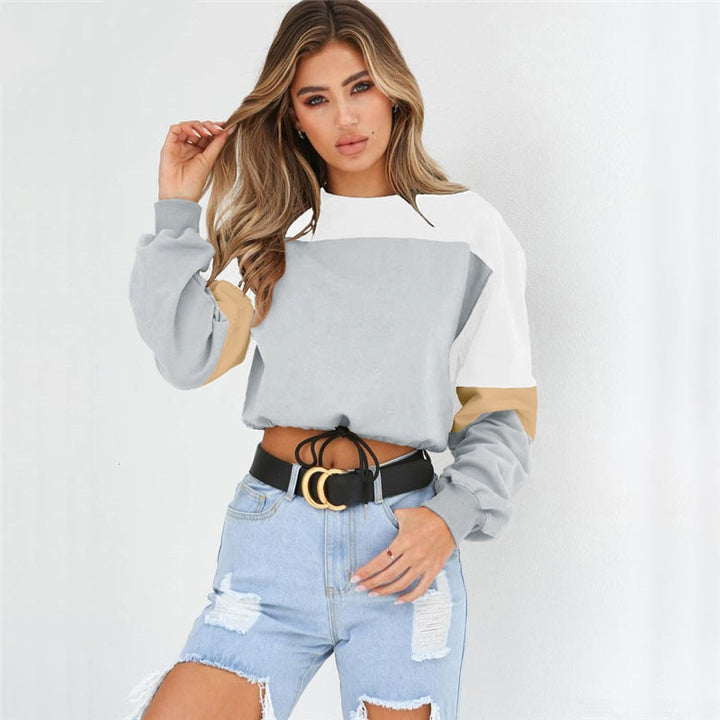Women's Spring/Autumn Casual Patchwork Loose Cropped Sweatshirt