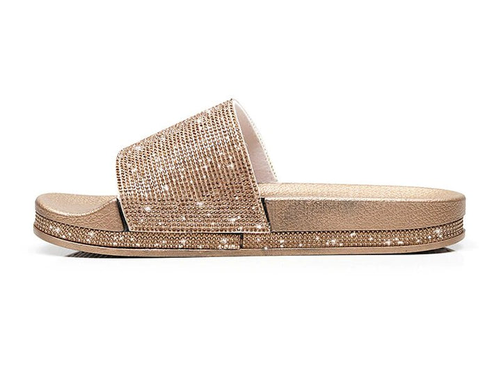 Women's Summer PU Leather Flip Flops With Rhinestones
