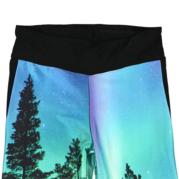 Women's Summer Quick Dry High Waist Sport Capris With Forest Trees Print