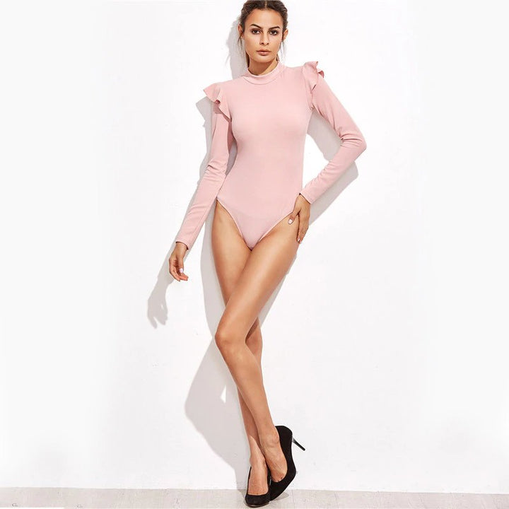 Women's Summer Frill Trim Long-Sleeved Bodysuit