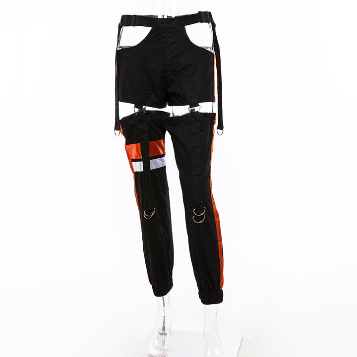 Women's Autumn Patchwork Striped Spliced Cargo Pants With Buttons & Sashes