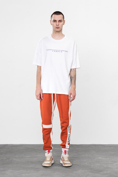"Men's Spring/Autumn Retro Joggers With ""Right Choice"" Side Print"
