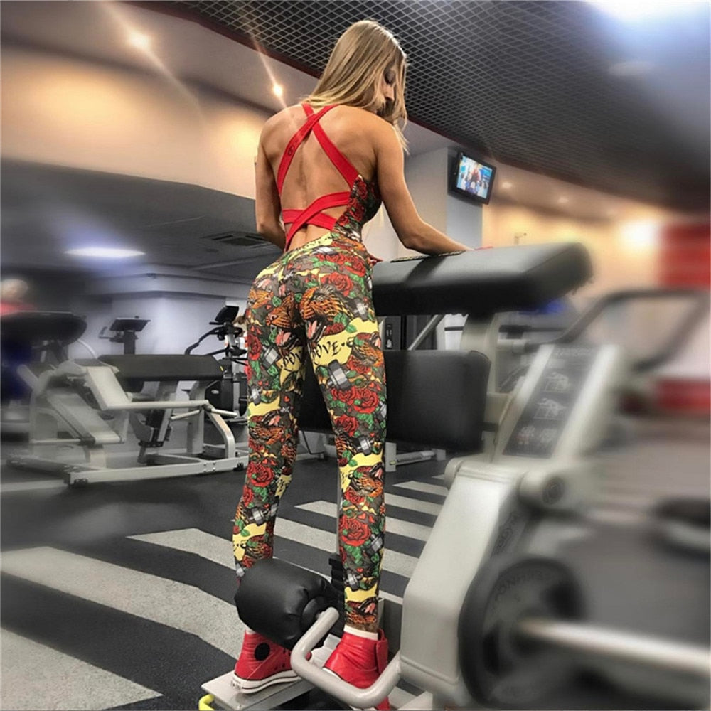 Women's Summer Sleeveless Floral Fitness Bodysuit