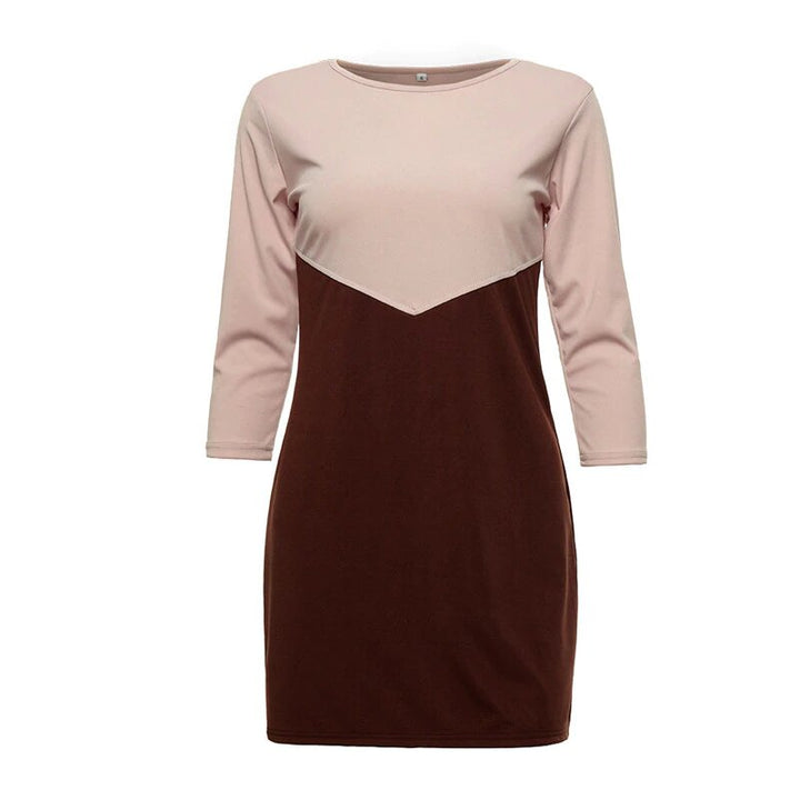 Women's Autumn/Winter Casual O-Neck Patchwork Mini Dress
