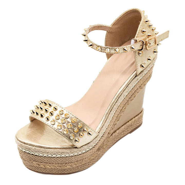 Women's Summer High Woven Platform Sandals With Rivets