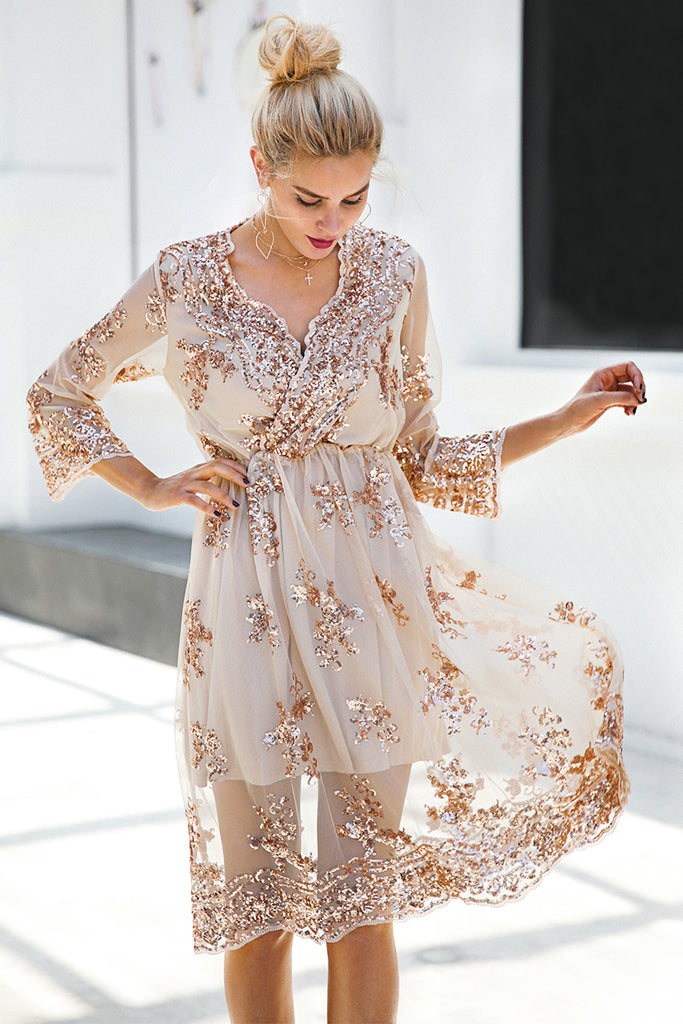 V-Neck Long Sleeve Sequin Party Dresses | Casual Midi Dress - Zorket