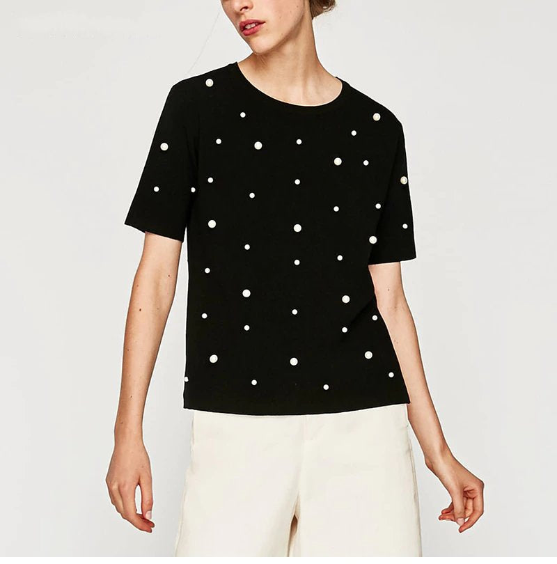 Women's Summer Cotton Loose O-Neck T-Shirt With Beaded Pearls