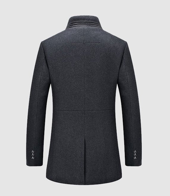 Men's Winter Casual Woolen Breasted Long Coat
