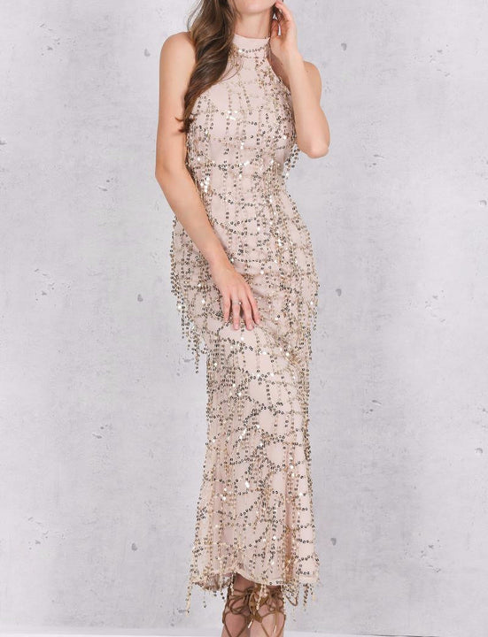 Sequin Evening Maxi Dress - Zorket