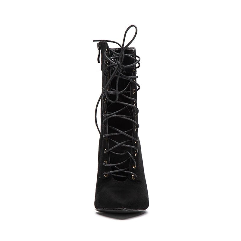 Women's Autumn/Winter High-Heeled Flock Lace-Up Ankle Boots