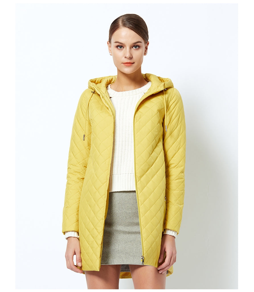 Women's Spring Warm Hooded Quilted Coat With Stand-Up Collar
