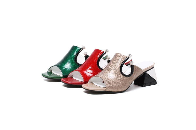 Women's Summer Leather Heeled Sandals