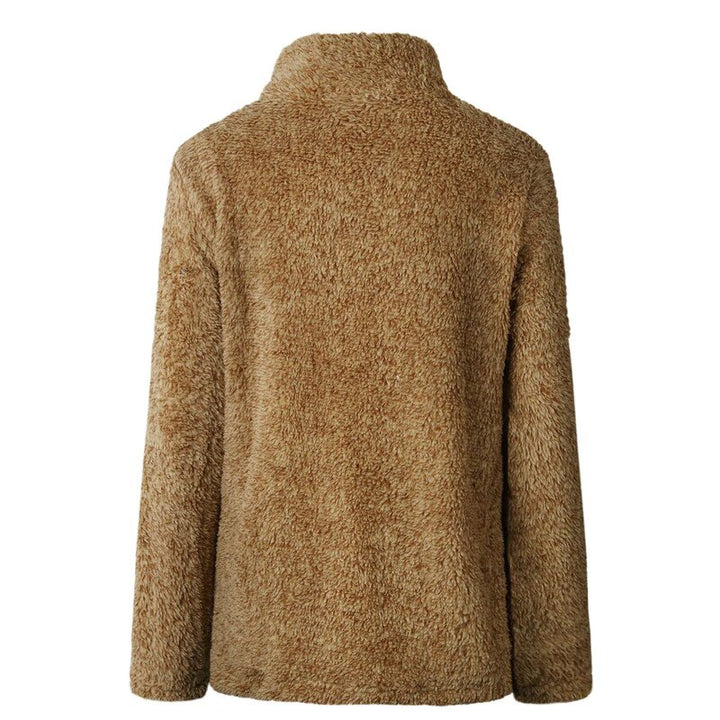 Women's Autumn/Winter Warm Thick Plush Pullover With Zipped Turtleneck