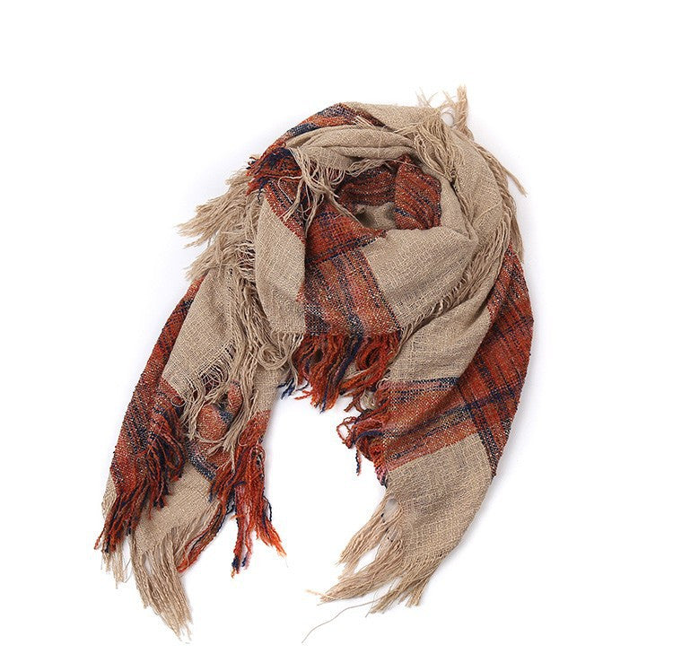 Winter Plaid Warm Acrylic Blanket Scarf - Zorket