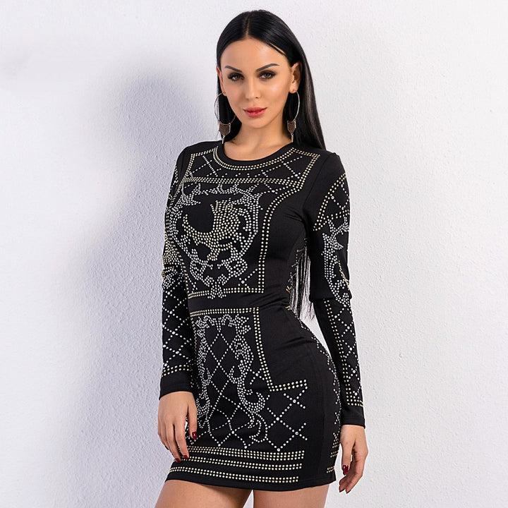 Women's Velvet O-Neck Long-Sleeve Dress