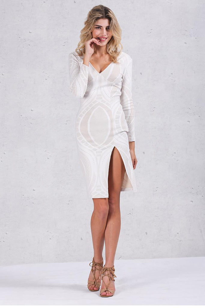 Women's Apparel | White Bodycon Dress | Deep V-Neck Slim Pencil Dresses - Zorket
