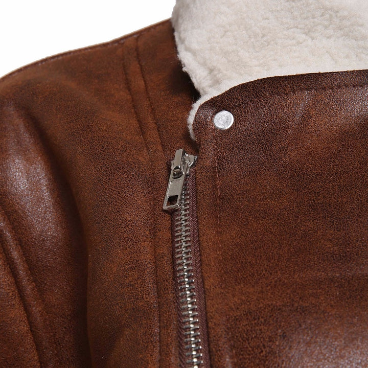 Men's Winter Warm Faux Suede Leather Jacket With Turn-Down Fur Collar
