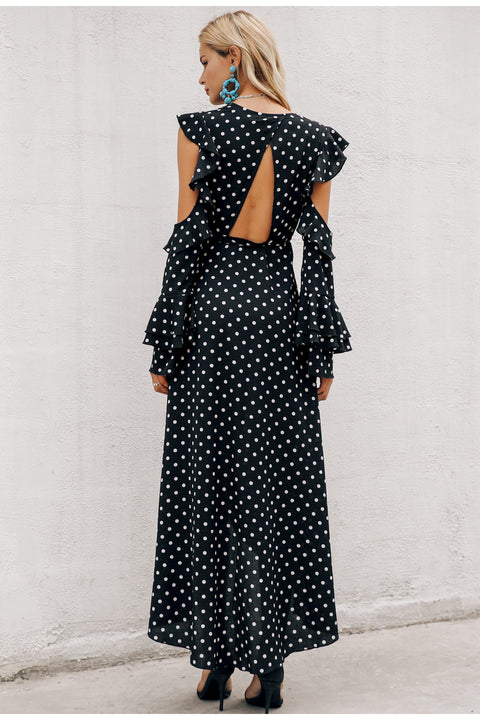 Women's Spring Polka Dot Ruffle Wrap Long Dress
