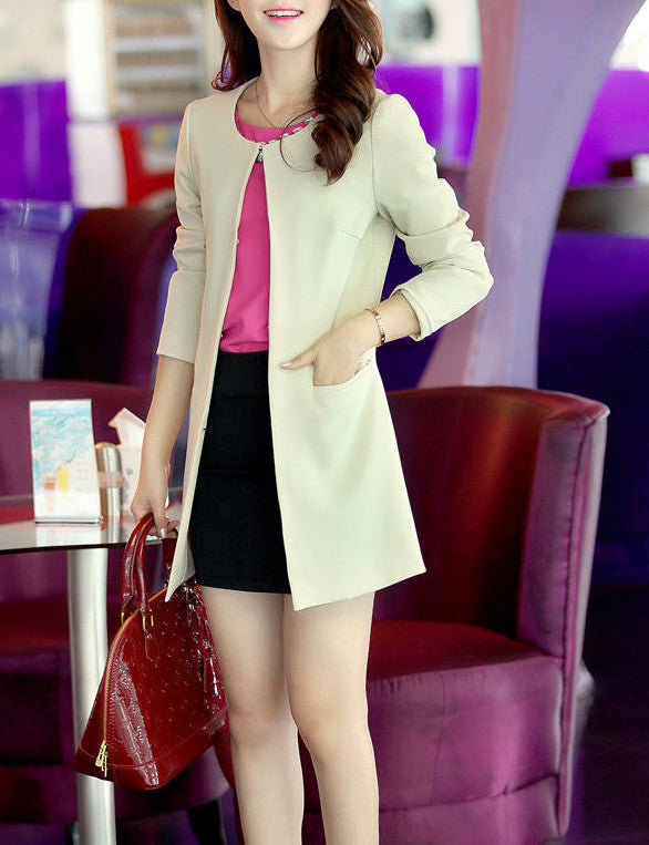 Women's Long Fashion Casual Blazer - Zorket