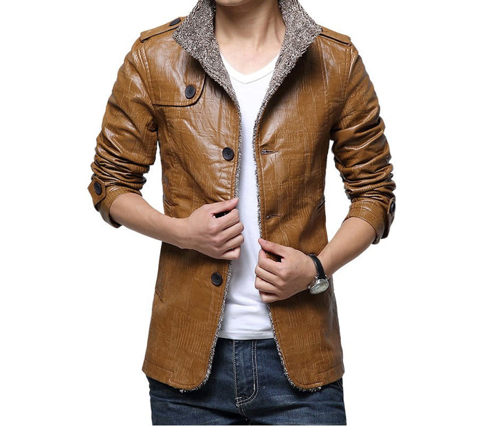 Men's Winter Warm PU Leather Waterproof Anti-Scratch Jacket