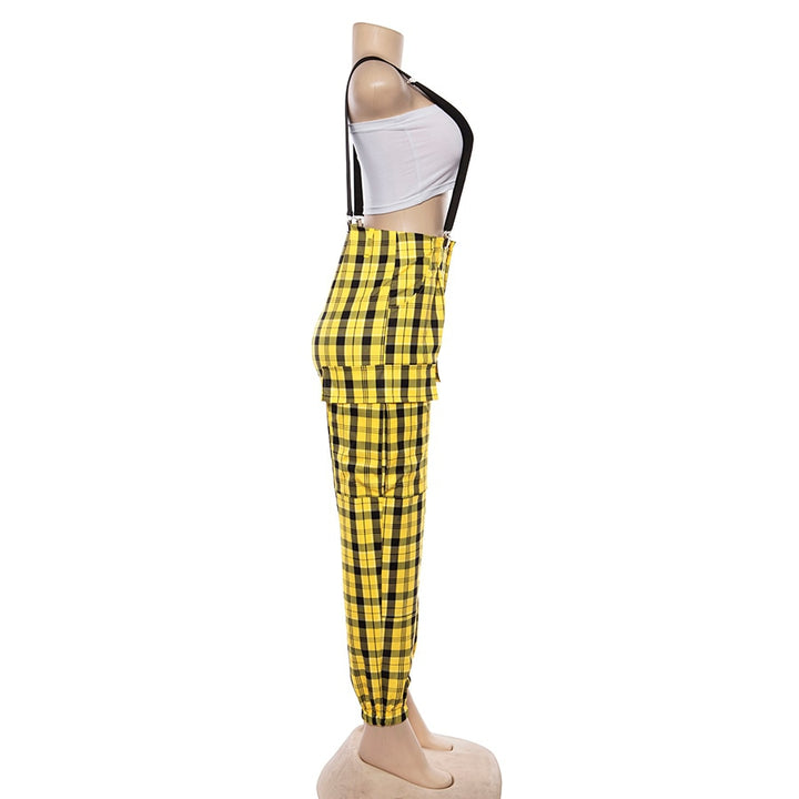 Women's Spring/Autumn Plaid High Waist Cargo Pants With Adjustable Straps
