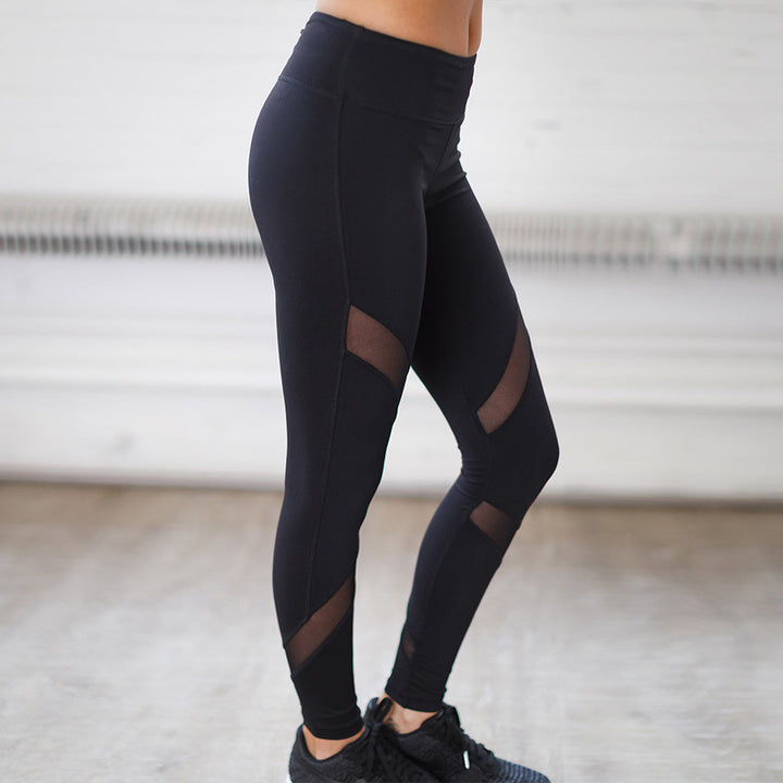 Women's Spring Ankle-Length Fitness Leggings With Mesh Inserts