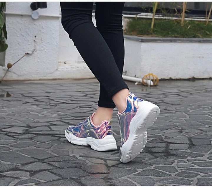 Women's Spring Shiny Lace-Up Sneakers