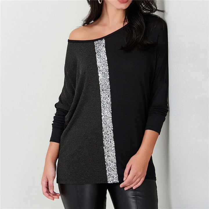 Women's Long-Sleeved T-Shirt With Sequined Stripe