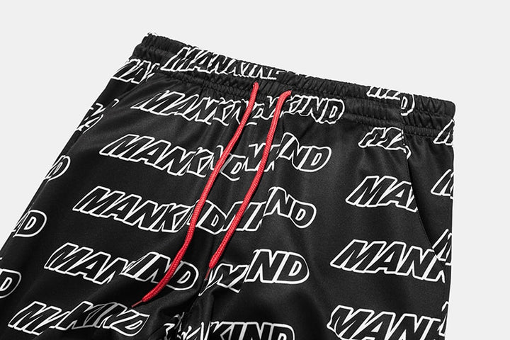 "Men's Autumn Elastic Waist Sweatpants With ""Mankind"" Printing"