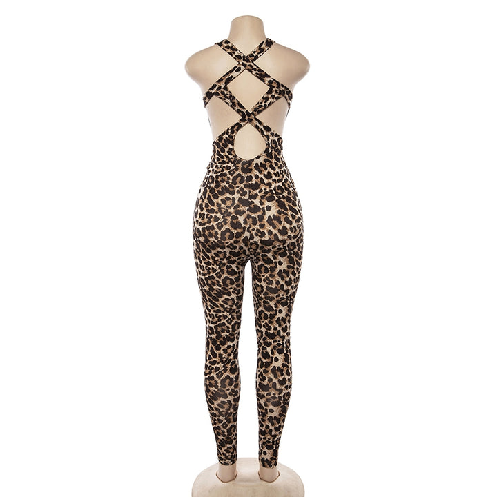 Women's Summer Leopard Elastic Bandage Fitness Bodysuit With Hollow Out Back
