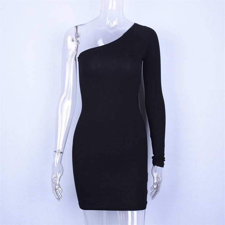 Women's Autumn Cotton One-Shoulder Long-Sleeved Bodycon Dress